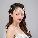 Women's Lace Flower Crystal Pearl Rhinestone Headband Forehead Hair Jewelry for Wedding Party