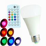 قطعة SchöneColors E26/E27 9W 3 طاقة عالية LED 550 lm RGB A60(A19) مفعل بالصوت / جهاز تحكم / ديكور / مضاء مصابيح كروية LED AC 100-240 V
