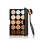 Willtoo Cosmetic Makeup Blusher Toothbrush Curve Foundation Brush+15 Colors Concealer
