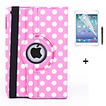360 Degree Round Dots PU Leather Flip Cover Case for iPad Mini 4 +Screen Protector Film Stylus Pen(Assorted Colors)