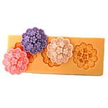 Drei Löcher Oblong Blume Silikon-Form-Fondant-Zucker-Formen Bastelwerkzeuge Resin Blumen Mould Formen für Kuchen