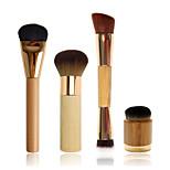 Flat Foundation Brush+ Airbrush Finish Bamboo Brush+Double-ended Contouring Brush+Airbuki  Powder Foundation Brush