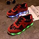 Women's LED Shoes USB charging Leatherette Fashion Sneakers Outdoor/Athletic/Casual Black/Red