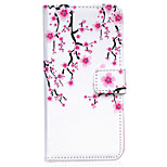 Pflaume Blumenmuster für iphone 6 PU-Leder Fall geprägt plus / iphone 6s Plus