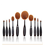 2016 New 10 Pcs Soft Oval Toothbrush Makeup Brush Sets Foundation Brushes Cream Contour Powder Blush Concealer Brush