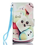 PU Wallet Leather Stand Case with Lanyard and Card Slots for iPhone SE / 5 / 5S - Sweet and Kawaii Pattern