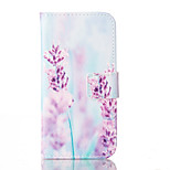 Purple flower Pattern PU Leather Case with Card Slot and Stand for iPhone SE/5S/5