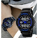 SKMEI Men's Analog- Digital Silicone Band 30m Water-resisstant Multi-Functional Dual Time Zones Sports Watch
