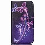 Cross Pattern Leather Wallet Case for Wiko Rainbow Jam 4G - Vivid Butterflies