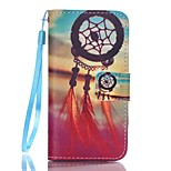 PU Wallet Leather Stand Case with Lanyard and Card Slots for iPhone SE / 5 / 5S - Sunset Dream Catcher Pattern