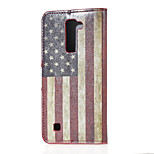 US Flag Magnetic PU Leather wallet Flip Stand Case cover for LG K7 LG Tribute 5