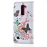 White butterfly Magnetic PU Leather wallet Flip Stand Case cover for LG K7 LG Tribute 5
