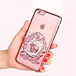 3D Rose Fashion Plating Transparent TPU Soft Case for iPhone 6s 6 Plus