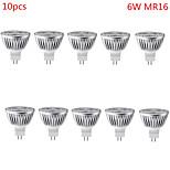 10 sztuk HRY GU5.3(MR16) 6W 3 High Power LED 500 lm Ciepła biel / Zimna biel MR16 Dekoracyjna Żarówki punktowe LED DC 12 V