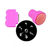 Nail Art Stamping Kit(1PC Rounded Stamp Stamping Random Image Template Plate, 1PC Stamper & 1PC Scraper)