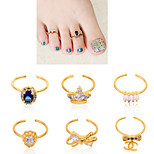 1pcs Bow Crown Rhinestone Diamond Toe Nail Rings Gold Alloy Elegant Women Nail Jewelry Decoration Tools