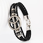 Super Big Peace Sign Shape PU Men's Bracelet