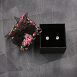 6mm Cubic Zirconia Set 925 Sterling Silver Stud Earring with Gift Box