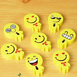 2PCS  Cartoon Smiling Face Little Rubber Eraser Yellow Dog Expression Cartoon Stationery Non-Toxic(Style Random)