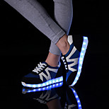 Women's Shoes Leatherette Flat Heel Round Toe Fashion Sneakers Outdoor / Athletic / Casual Black / Blue / White