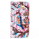 Plum Cat PU leather with Stand Case for iPhone5S/SE 4.0