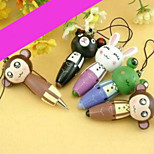 1PC Cute Cartoon Wooden Animal With A Pen Ballpoint Pen Pendant Mobile Phone Chain(Random color)