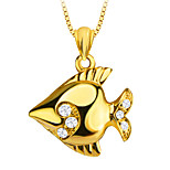 Cute Tropical Fish 18k Gold Plated Pendant Special Design Crystal Jewelry for Women/Men Gift P30139