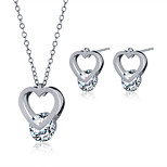 2016 Fashion Luxury Lovely Heart Shape Zircon Jewelry Set For Women