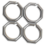 FURA Octagonal Titanium Alloy Key Ring - Champagne + Grey (Small Size / 4PCS)