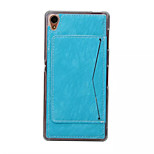 Fashion TPU Stent Phone Case For Sony Xperia Z3  Grained Leather Back Cover with Card Slot