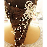 Women's White Pearl Rhinestone Headband Forehead Hair Jewelry for Wedding Party