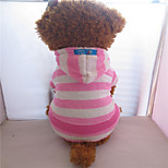 Holdhoney Pink With White Stripe Coral Fleece Conjoined Hoodies For Pets Dogs (Assorted Sizes) #LT15050270