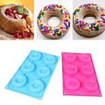 6Cav Doughnut Donut Bundt Ring Cake Chocolate Dessert Silicone Mold Decor Kits(Random Color)