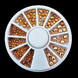 1wheel Mix Sizes Gold Rhinestones 3d Nail Art Decorations