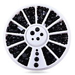 1wheel Pure Black Rhinestones 3d Nail Art Decorations