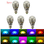5pcs HRY® E27 5W RGB with Remote Control Multiple Colour RGB LED Bulb(85-265V)
