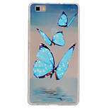 Blue Butterflies Pattern Ultrathin TPU Soft Back Cover Case for Huawei P8 Lite