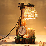 Creative Wood The Violin with Clock Pen Container Decoration Desk Lamp Bedroom Lamp Gift for Kid