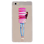 Macarons Girl Pattern Ultrathin TPU Soft Back Cover Case for Huawei P8 Lite