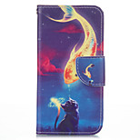 Golden Fish Cat PU leather with Stand Case for iPhone5S/SE 4.0