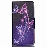 Cross Textured Leather Magnetic Stand Phone Case with Card Slot for Acer Liquid Z520 - Vivid Butterflies