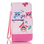 Magnetic Leather Stand Protective Case with Lanyard for iPhone SE / 5 / 5S - Owl Family and Love Pattern