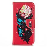 plumas de colores de cuero de la PU con el caso del soporte para iphone5s / SE 4.0