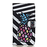 Black and White Pineapple Pattern PU Leather Full Body Case with Stand for Wiko Fever