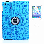 360 Degree Novelty PU Leather Flip Cover Case for iPad Mini 4 +Screen Protector Film Stylus Pen(Assorted Colors)