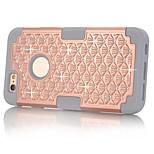 pc + silicona en todo el cielo estrellado caso de la contraportada para iPhone6 más / 6s más la caja de la cubierta del diseño brillante