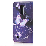 Purple Butterfly Magnetic PU Leather wallet Flip Stand Case cover for LG K10 / M2 F670/LG K7 m1