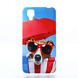 Glasses Dog Pattern TPU+IMD Soft Case for Wiko Sunset