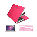 3 in 1 PU Leather Laptop Case  with Screen Protector and Keyboard Cover for Macbook Macbook Pro 13''/15