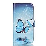 mariposa azul pintado caja del teléfono de la PU para el iphone5se